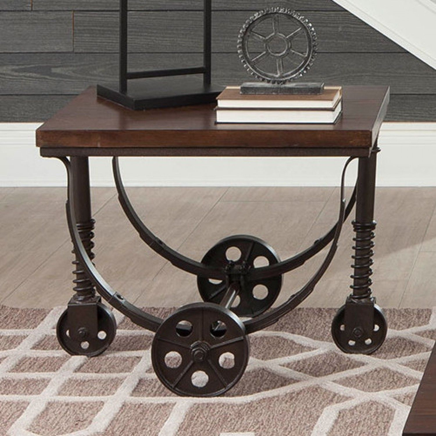 Coaster 704977 End Table in Chestnut/Rustic Bronze