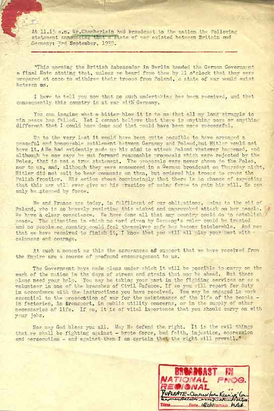 The Transcript Of Neville Chamberlains Declaration Of War