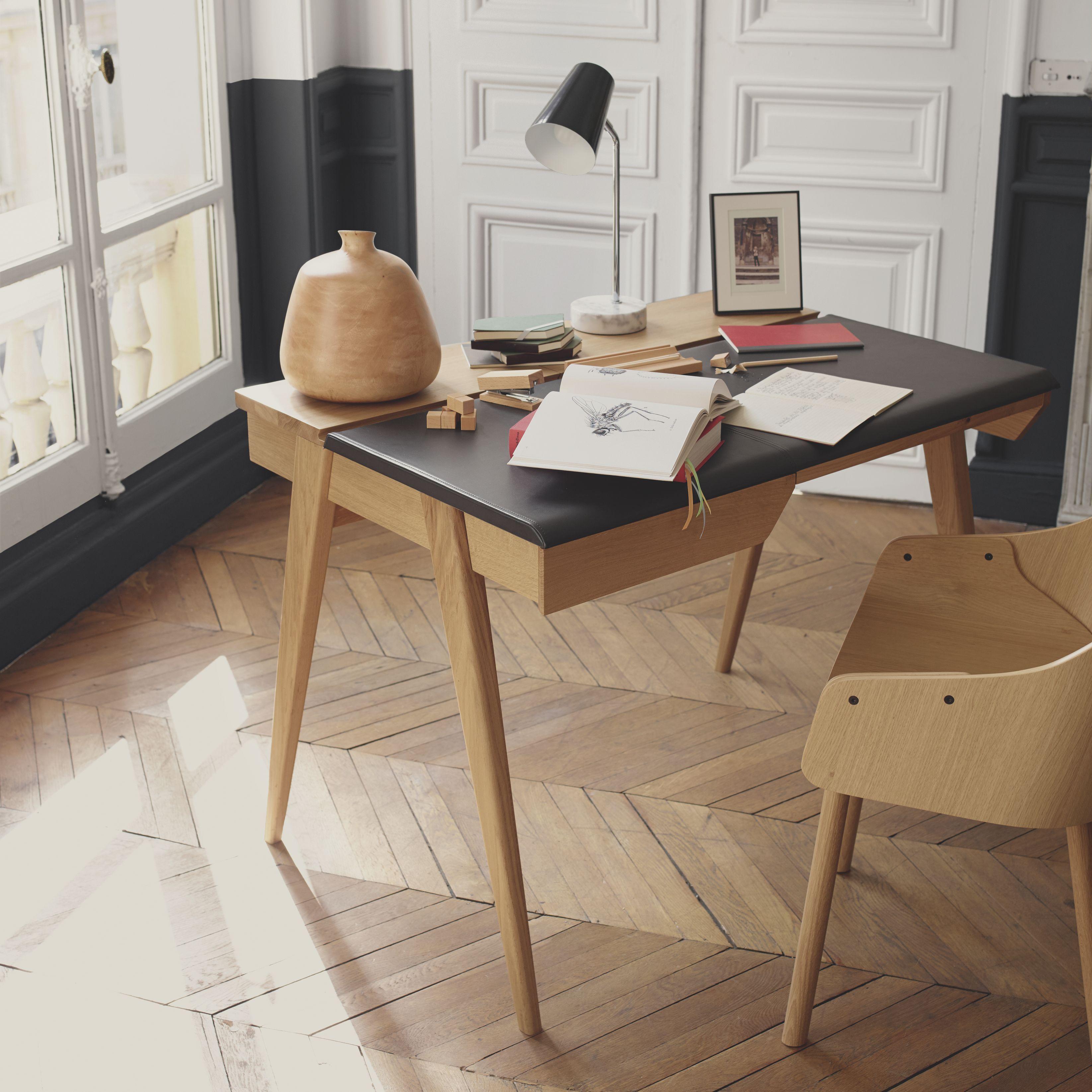 Beckett Petit Bureau En Chene Et Cuir Grand Bureau Bureau Design Bois Meuble
