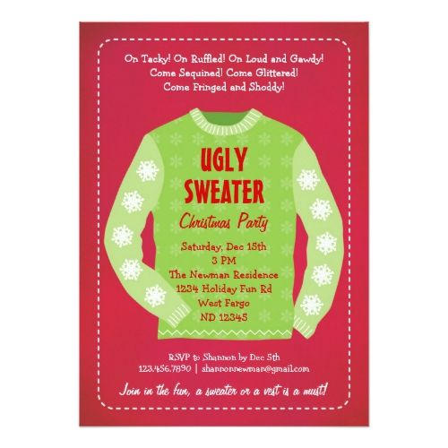 Ugly Sweater Holiday Party Invitation 2017 Christmas Card Trends - holiday party invitation