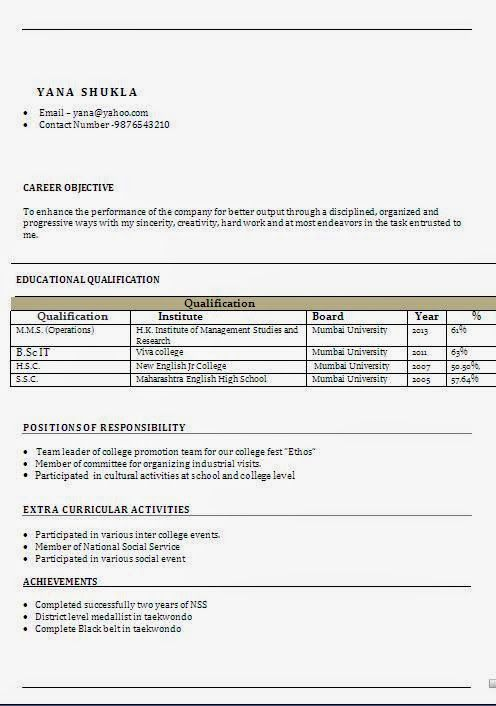 curriculum vitae vuoto Sample Template Example ofExcellent - extra curricular activities for resume