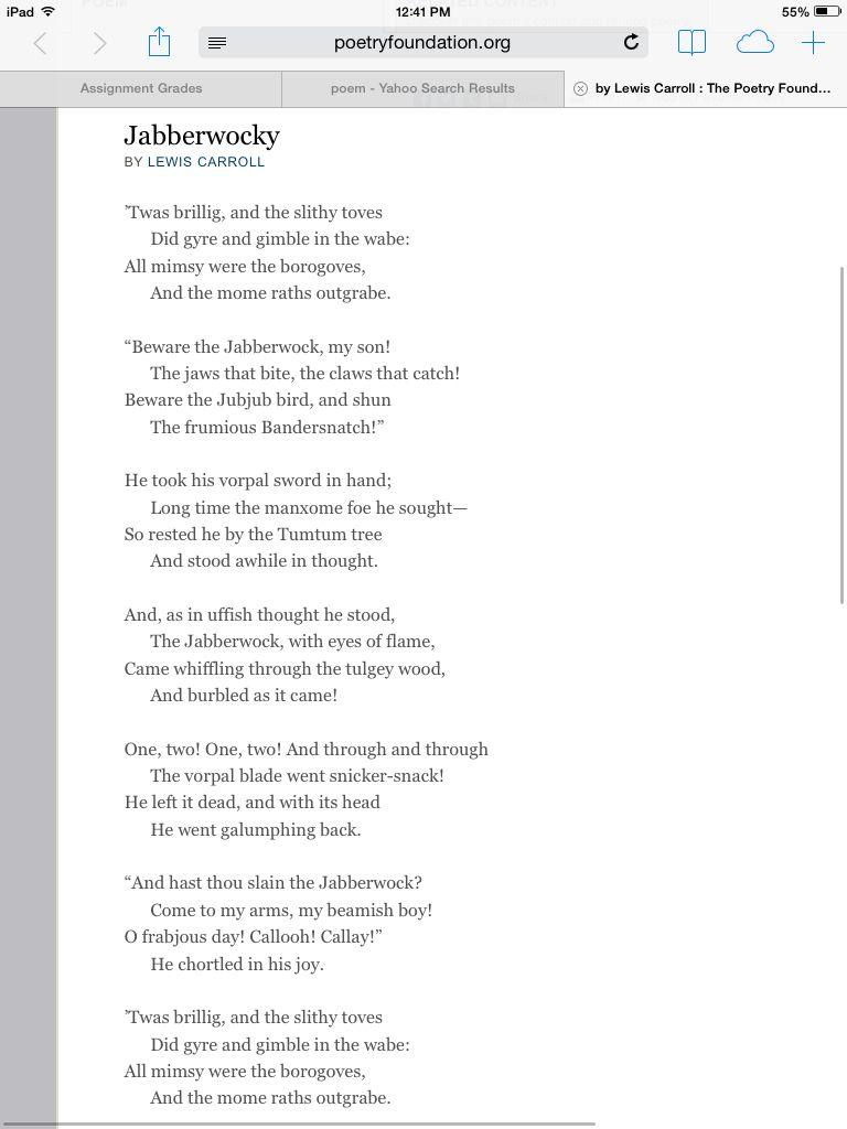 Teach Jabberwocky Poem By Lewis Carroll Then Show Tim Burton S