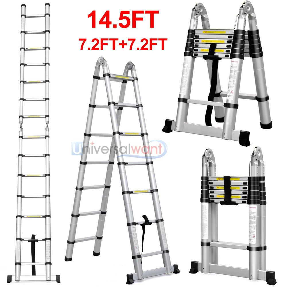 14 5ft Aluminum Telescopic Ladder Telescoping A Type Extension Multi Purpose Multi Purpose Ladder Telescopic Ladder Ladder