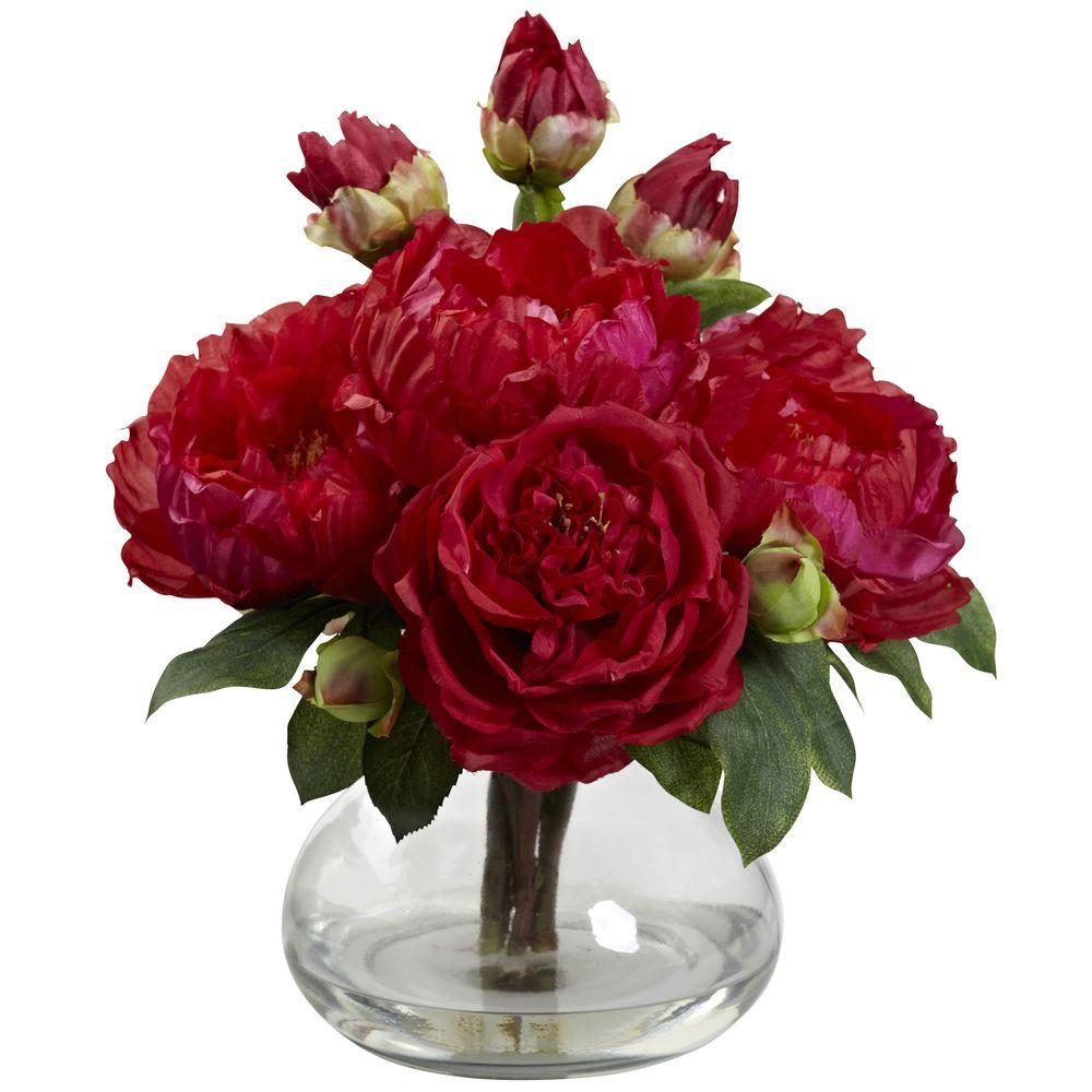 Peony and Rose with Vase, Red