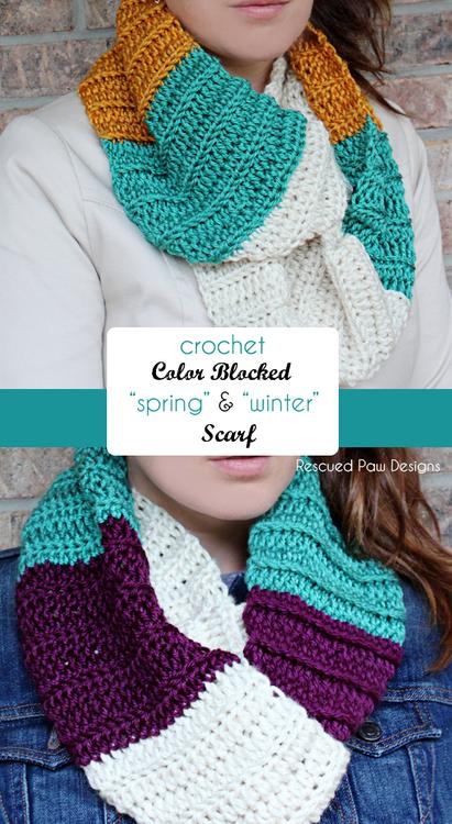 Color Blocked Infinity Scarf- Free Crochet Pattern | Tejido, Chal y Hilo