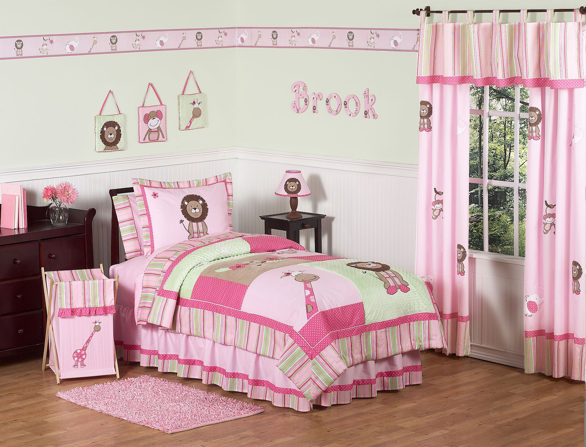 Pink Green Jungle Animals Girls Bedding Twin Full Queen forter