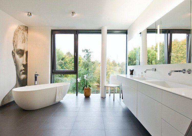 design-de-la-salle-de-bain-meuble-vasque-blanc-carrelage-gris-fonce - salle de bain carrelage gris et blanc