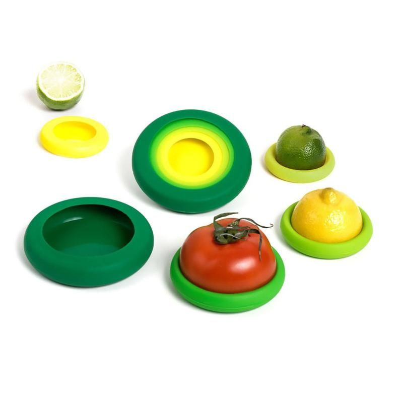 Food Huggers Set of 4 fit perfectly on a variety of cut fruits and vegetables