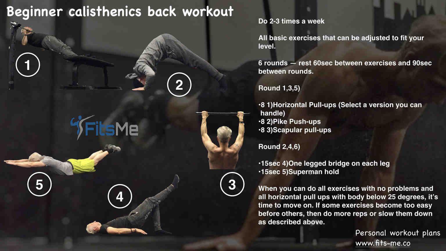 Calisthenics back workout for strength beginner to