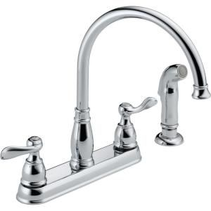 Cheap Kitchen Faucets Home Depot.Delta Windemere 2 Handle Standard Kitchen Faucet With Side