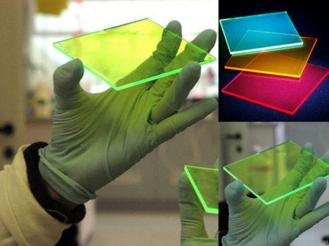 Panes made with fluorescent dyes and nanoparticle metals which could more or less eclipse traditional solar panels in terms of price and cost.