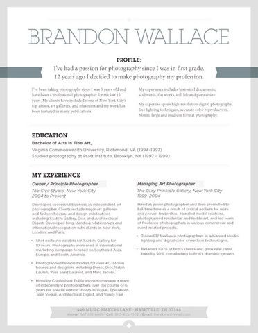 Photographer resume example Creative Resume Examples Pinterest - photography resume samples