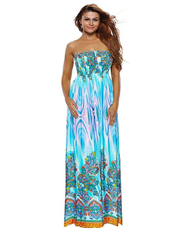 350d7cc9181 Womens Maxi Boho Floral Summer Beach Long Skirt Evening Cocktail ...