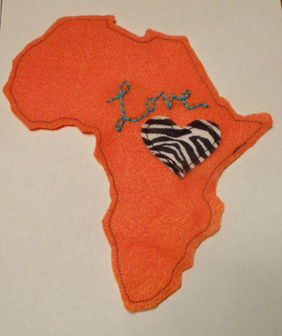 Uganda / Kenya Africa Love Applique. $7.00, Via Etsy