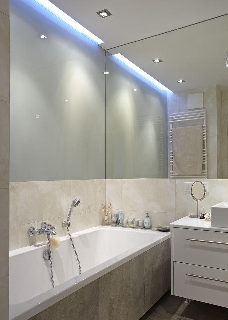 indirekte led deckenbeleuchtung badezimmer dusche glas trennwand