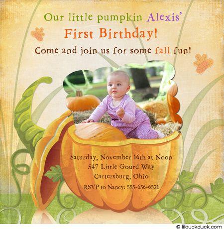 Pumpkin Girl 1st Birthday Invitation Little Photo Orange Fall – Birthday Invitation Cards for Baby Girl