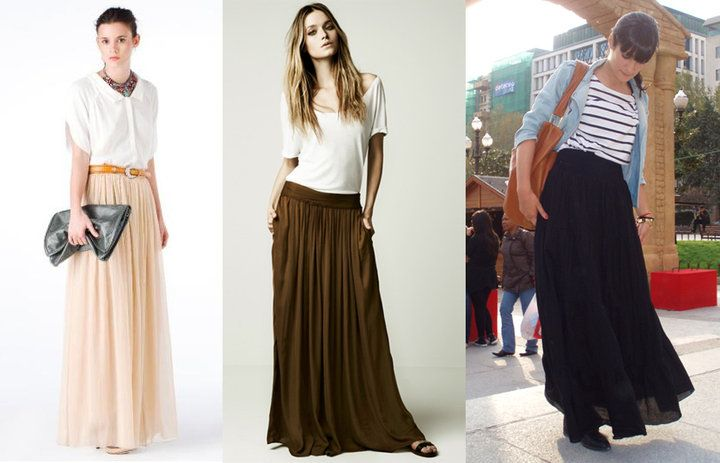 long skirt :- You can use the dress or skirt for day and night. For the day, and night jacket are perfect with blazer.  - If in doubt when skirts or dresses combined with proper shoe type, do it with flat sandals or wedges.  - The accessories give a touch to look so combine it with necklaces and bracelets hippie maxi.
