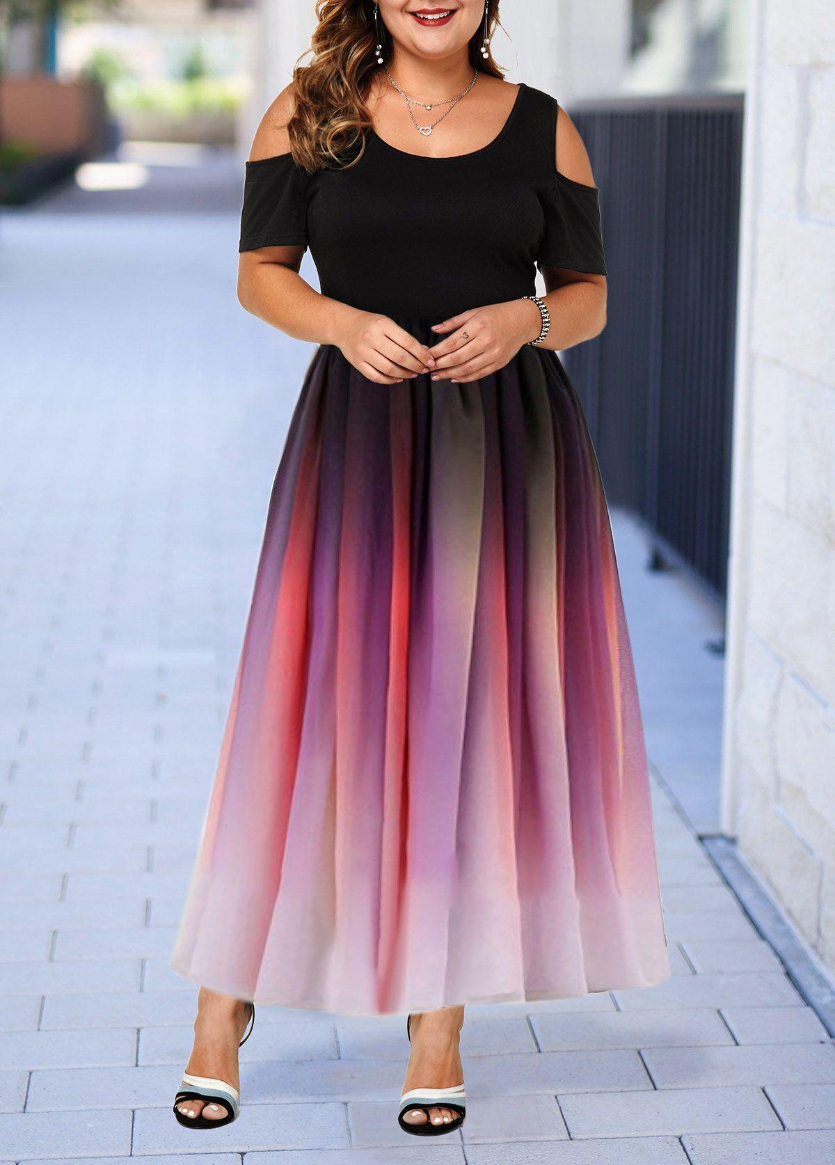 Cold Shoulder Half Sleeve Plus Size Gradient Dress #liligal ...
