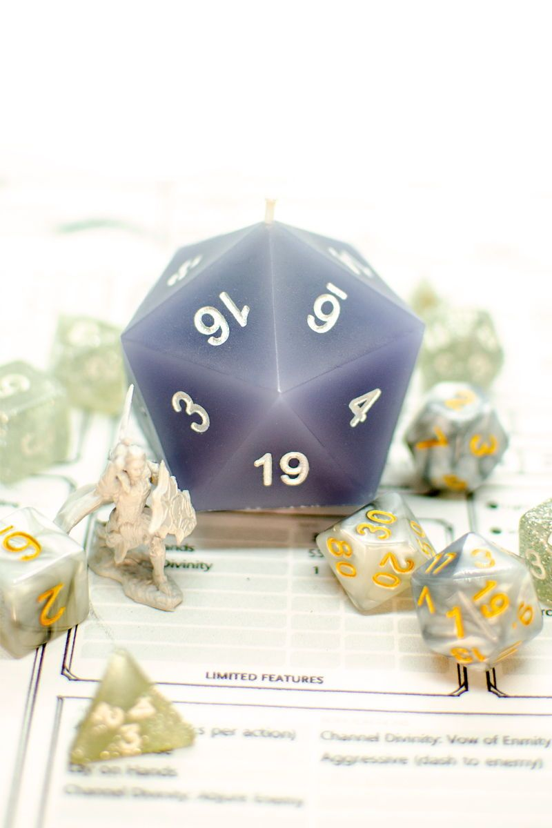 Custom D20 DnD Dice Candle | Dungeons and Dragons | DnD Accessories | Geek Decor