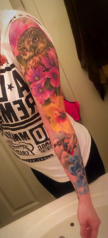 Sleeve In Progress Owl Flowers Watercolor Tattoo Floral