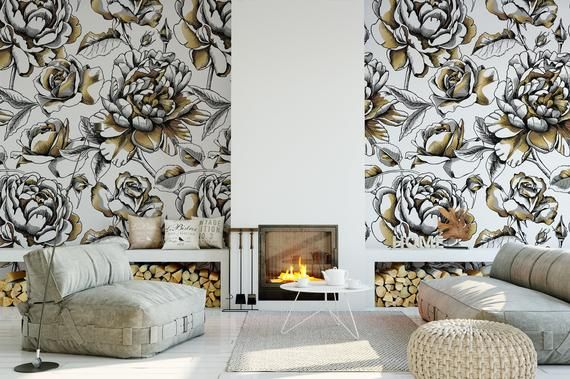Removable Peel And Stick Wallpaper Gold White And Black Etsy Peel And Stick Wallpaper Gold And Black Wallpaper Black Wallpaper