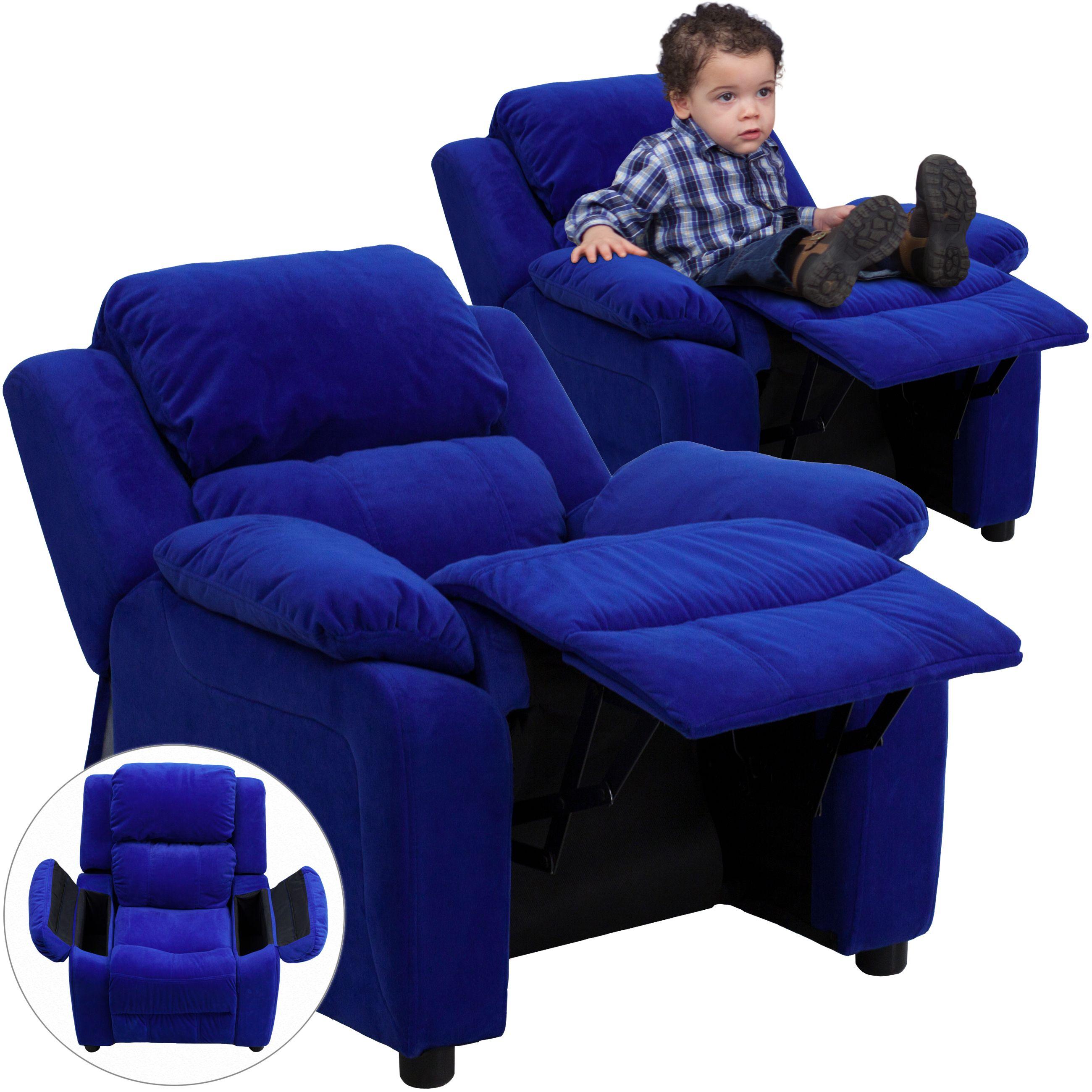 Best Blue Kids Microfiber Chair Kids Recliners Flash 400 x 300