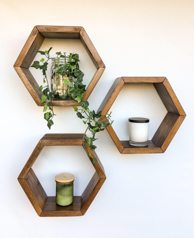 Honeycomb Shelves Set Of 3 Hexagon Shelves Geometric Shelves