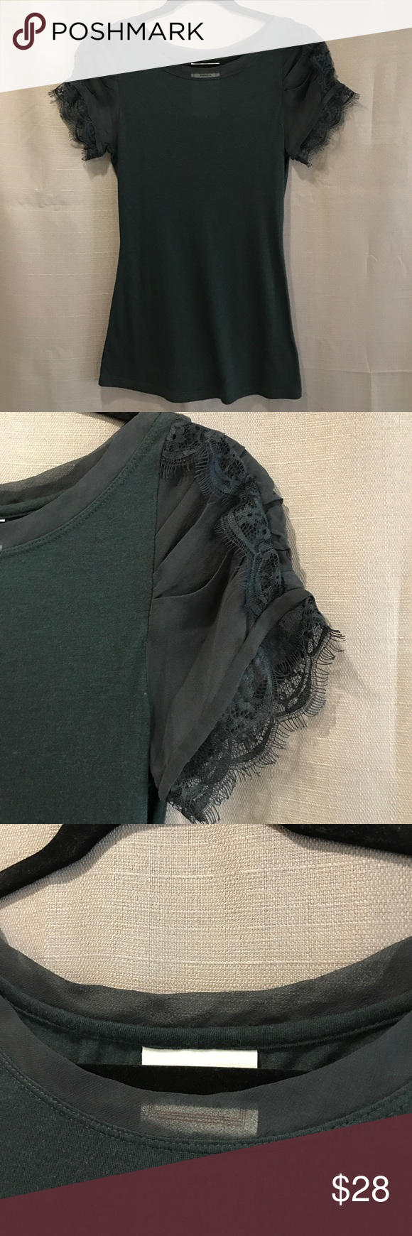 SALE ⚡️Anthropologie :: Laced cap sleeve tee Excellent used condition, worn once! Soft black tee with lace sleeves and sheer neckline detail! So versatile! Anthropologie Tops