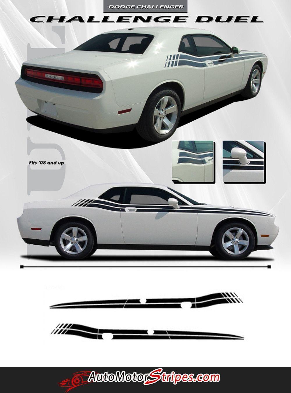 2018 2019 Dodge Challenger Dual Strobe Side Body 3M Vinyl Stripe Graphic Decal
