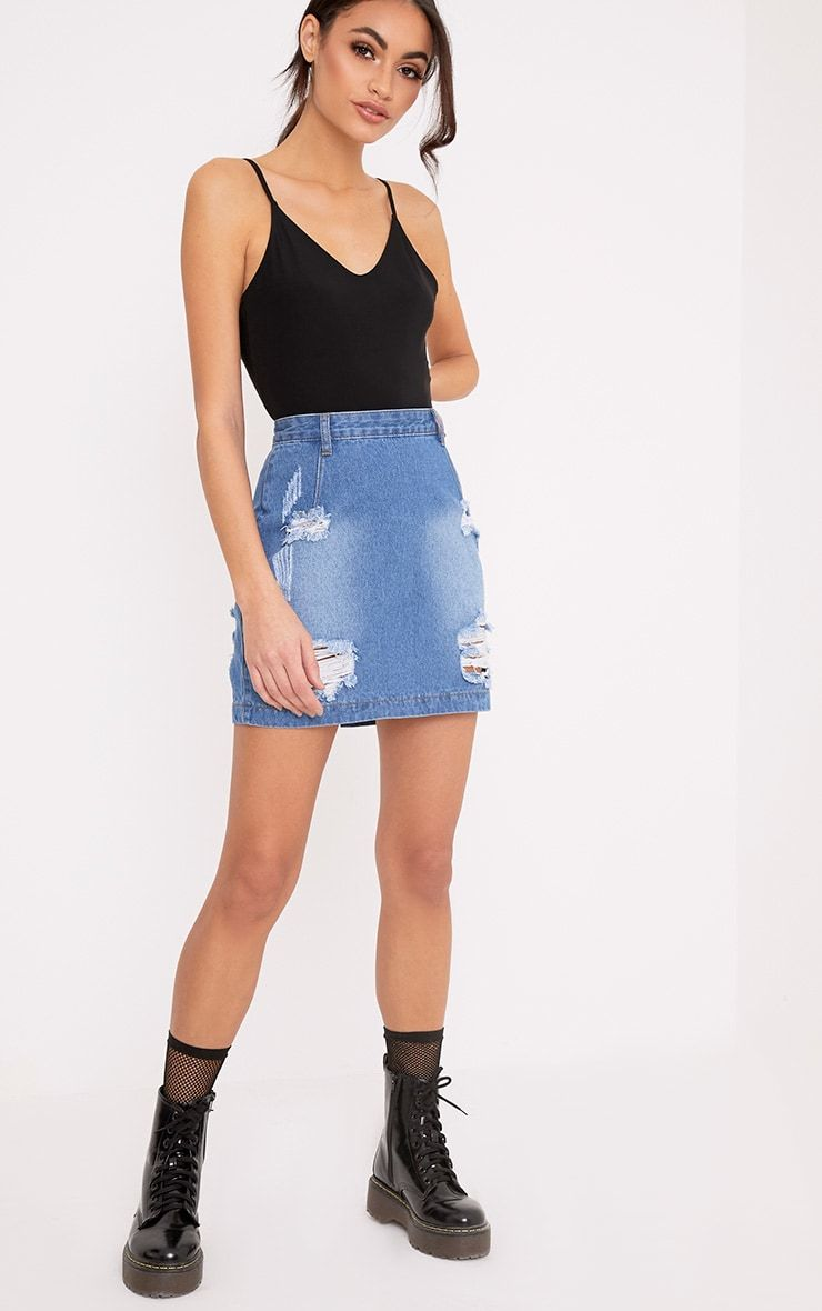 41ca005b84 Super Distressed High Waisted Denim Mini Skirt Work an on trend look in  this super distresse.