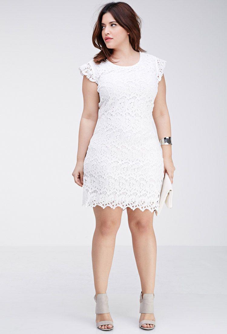 b15a57b443 Plus Size Floral Crochet Dress
