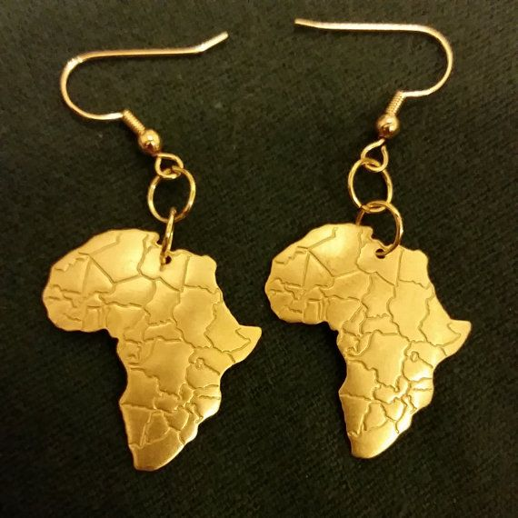 Gold Brass Africa Map Earrings Africa map Africa and Gold