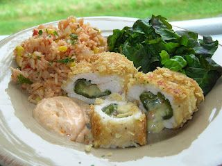 Tortilla Crusted Chicken Rellenos with Cilantro Sauce