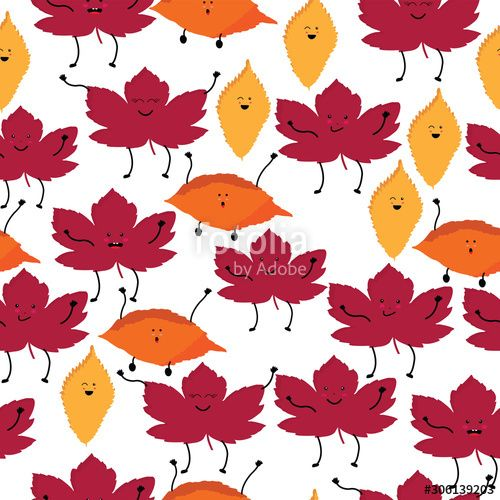 Cute kawaii style seamless pattern with leaves on white background , #AFFILIATE, #style, #seamless, #Cute, #kawaii, #white #Ad