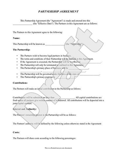 Partnership Agreement Template, Form, with Sample #business - partnership agreement form