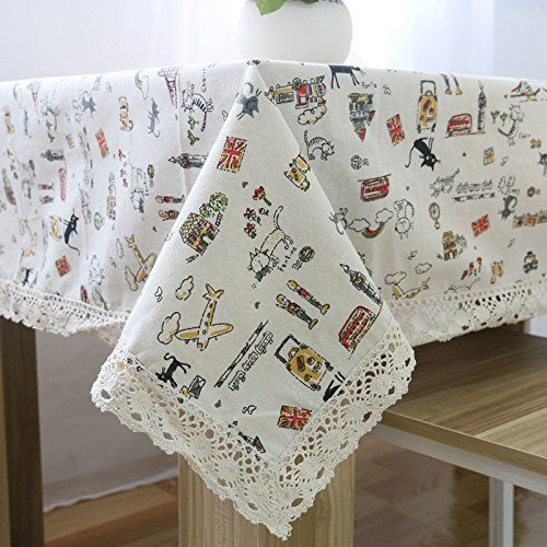Wonderful Cotton Linen Tablecloth Cartoon Bus Dinner Kitchen Decorative Table Top  Cover (55x98inch(140x250cm)