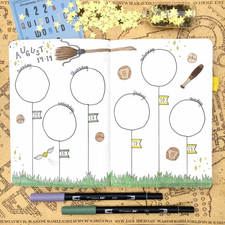Part 2: 80+ Magical Harry Potter Bullet Journal theme layout ideas