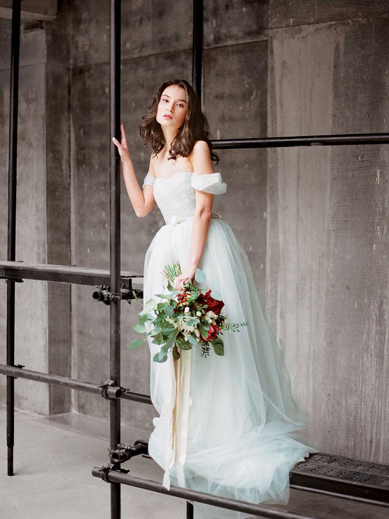 Blue grey off the shoulder wedding dress