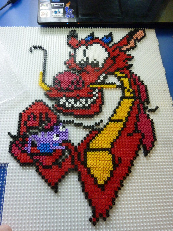 Mushu Disney Mulan hama perler beads by Poisonable on deviantART change to cross stitch