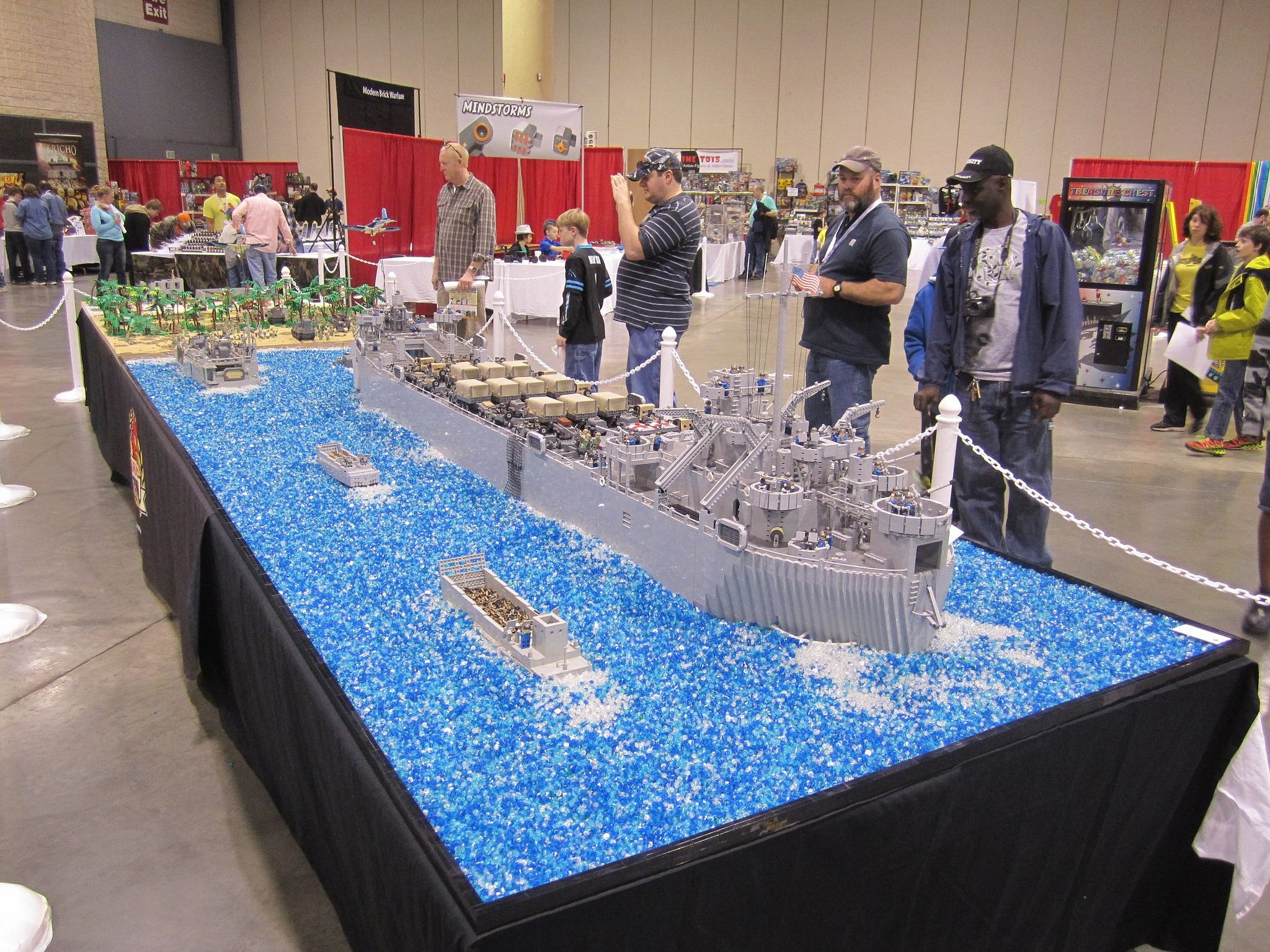 "https://flic.kr/p/jdubzP | Battle of Peleliu | The US Marines stormed the beaches of Peleliu in 1944 as part of McArthur's campaign to liberate the Philippines from Japanese occupation. This display was built during 2013 and is shown here at BrickFair Birmingham in January 2014. It was voted ""Most inspiring"" creating by the event attendees."