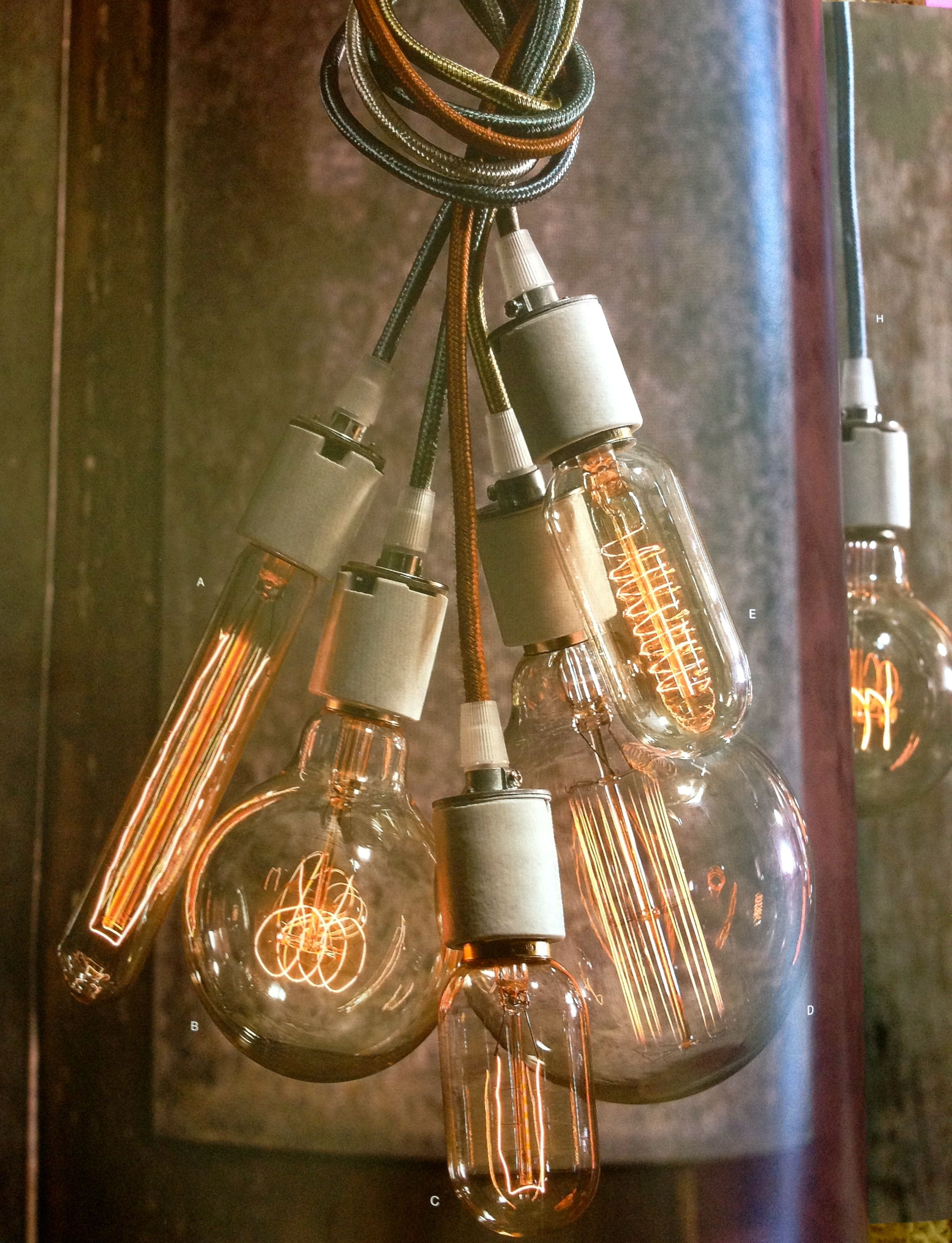 Cluster of edison bulb lamps with colored cloth cords available