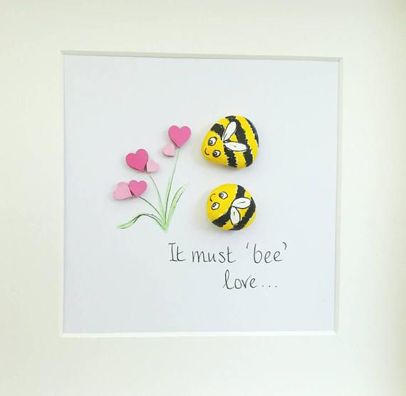 Photo of Pebble Art Picture It Must Bee Love – Anniversary – Engagement – Couples Gift Keepsake – Framed And Personalised