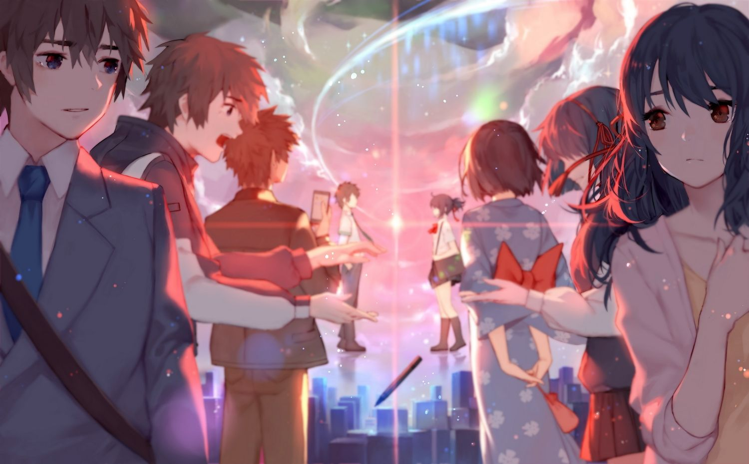 blue eyes bow brown eyes brown hair building city clouds hoodie japanese clothes joseph lee kimi no na wa kneehighs long hair male miyamizu mitsuha phone school uniform short hair sky suit tachibana taki tie yukata | konachan.com