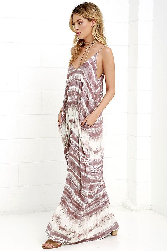 5093b6fd327 Yours Tule Mauve Tie-Dye Maxi Dress