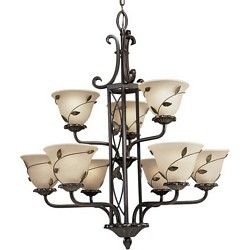 Nine Light Eden Collection Two Tier Chandelier With Amber Linen Glass Forged Bronze Finish