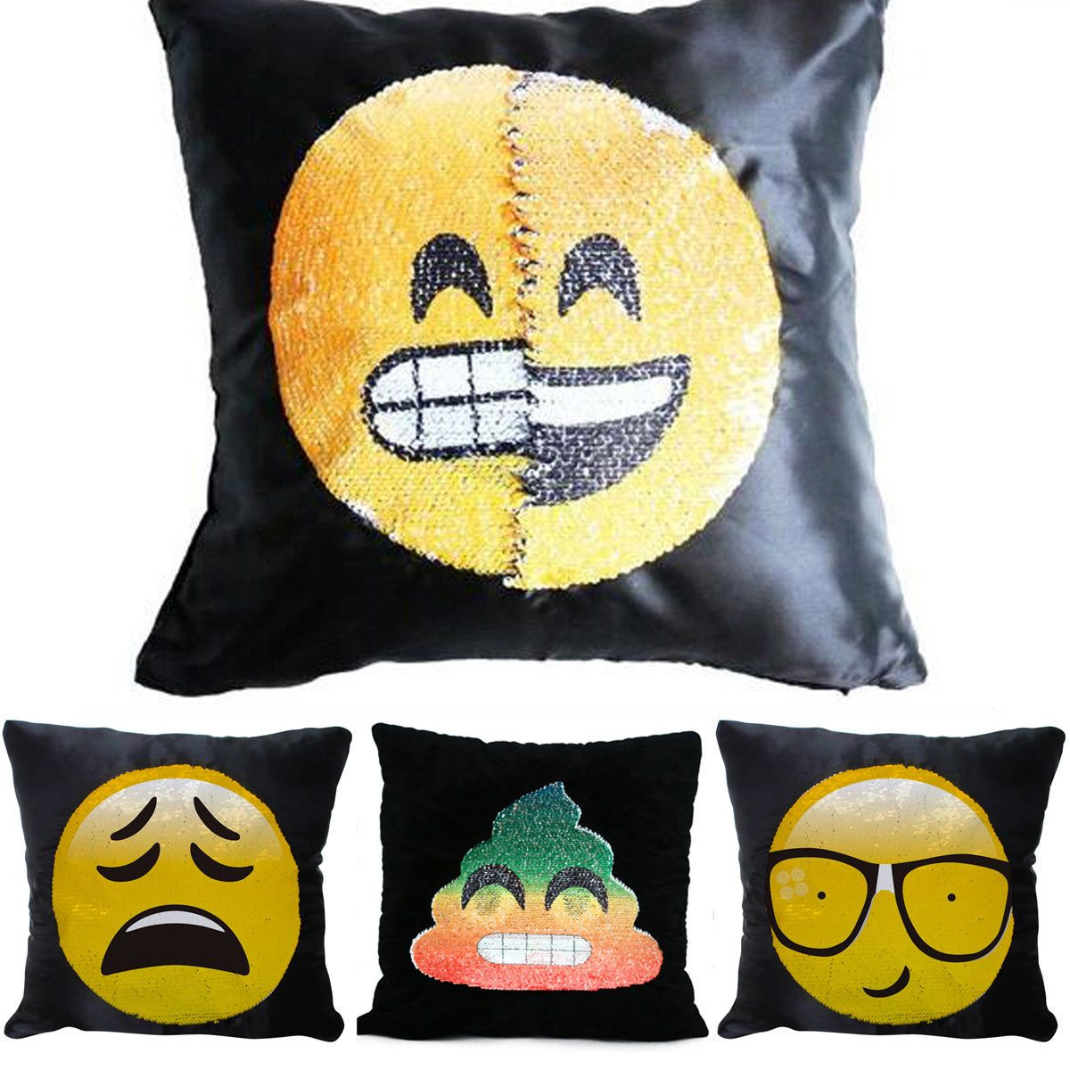 Sequin emoji pillow cushion cover reversible changing face