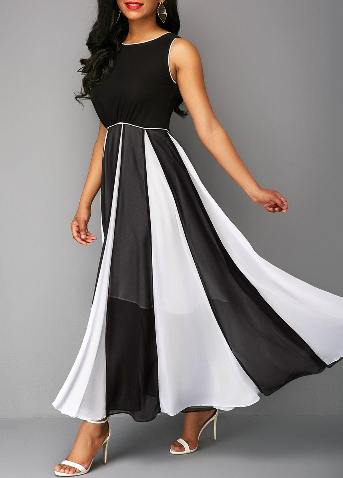fd9f72b295c24 Black Sleeveless Round Neck Maxi Dress | liligal.com - USD $34.42 ...