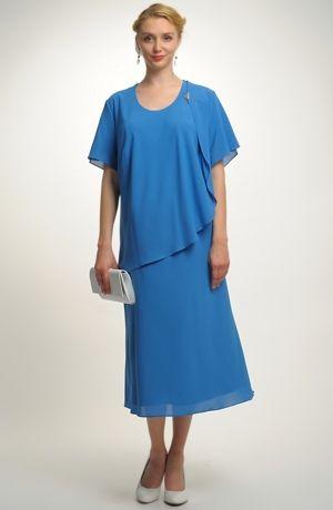 Dámské společenské šaty pro plnoštíhlé s řaseným sedlem na bok e2e07bb851b