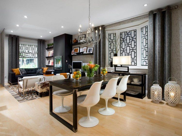 OPPOSITES ATTRACT This living-dining room is all about comfort - photo de salon salle a manger