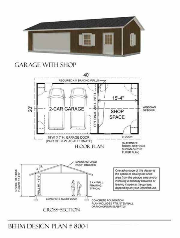 2 car garage with shop plans 800 1 by behm design for Garage foundation plans